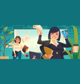 multitasking business woman working in office vector image