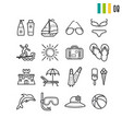 outline summer icons set vector image vector image