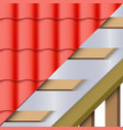 red ceramic tiles roofing cover and layers vector image vector image