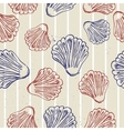 Seamless blue texture with clams vector image vector image