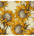seamless vintage sunflowers vector image vector image