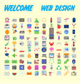 set of 100 universal and standard icons on flat vector image vector image
