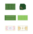 Six sports fields vector image vector image
