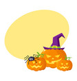 three hallowing jack o lanterns pumpkins in vector image