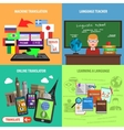 Translate Square Decorative Icons Set vector image vector image