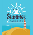 travel summer banner with seascape and lighthouse vector image vector image