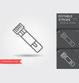 tube with a test for coronavirus line icon vector image vector image