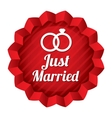 Wedding star Just married sticker with rings vector image vector image