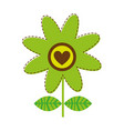 white background with green daisy flower with vector image