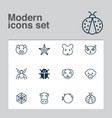 zoology icons set with mouse owl cow and other vector image