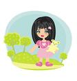 happy little girl with teddy bear vector image