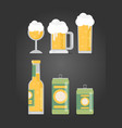 bottle of beer with glass flat design modern vector image