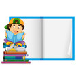 a boy on blank template vector image vector image