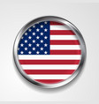 Abstract button with metallic frame USA flag vector image