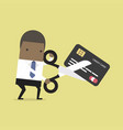 african businessman cutting credit card vector image vector image