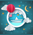 air balloon ship cartoon sea vector image