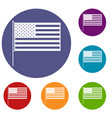 american flag icons set vector image