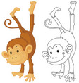 animal outline for monkey flipping vector image vector image