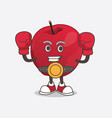 apple cartoon mascot character in sporty boxing vector image vector image