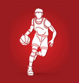 Basketball player action cartoon sport graphic