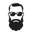 bearded man s face hipster character fashion vector image vector image
