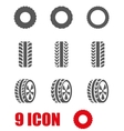 black tire icon set vector image vector image