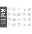brainstorm thin line icons set artificial light vector image