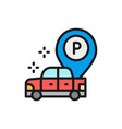 car with large parking pointer flat color line vector image vector image