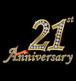 celebrating 21th anniversary golden sign vector image vector image