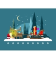 Christmas sleigh full of gifts vector image vector image
