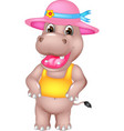 cute hippo cartoon standing with laughing vector image vector image