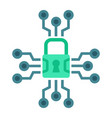 cyber security flat icon padlock and security vector image vector image