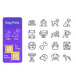 dog pets line icons set vector image