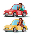driver people man woman sitting in modern vector image vector image