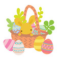 flat basket with easter eggs with rabbit vector image vector image