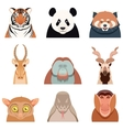 Flat set of asian animals vector image