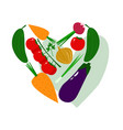 fresh juicy vegetables in shape of heart vector image