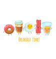 happy breakfast characters egg sandwich coffee vector image