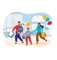 happy family on shopping people characters vector image vector image