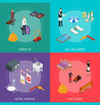 hotel service banner card set isometric view vector image vector image