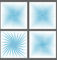 Light blue spiral ray and starburst background set vector image vector image