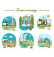 main green energy types collection vector image