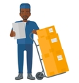 Man delivering boxes vector image vector image