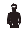Man with glasses silhouette vector image