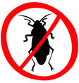 no cockroach warning sign icon vector image