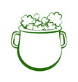 outline of a pot with clovers vector image