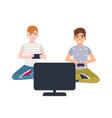 pair young boys sitting in front display and vector image vector image