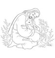 parable jesus christ and lost sheep coloring vector image vector image