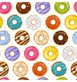 Powdered donut dessert background Donuts and vector image vector image