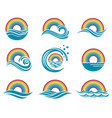 rainbow and sea icons vector image vector image
